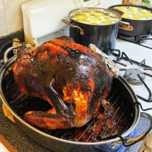 Here's the turkey made by Cathryn's husband, Hector. The potatoes are still cooking in the background.