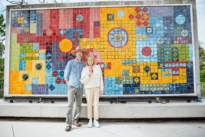 I toured the Naples Botanical Garden with Chad Washburn, Vice President of Conservation. Here we are standing in front of a 1991 Untitled Mosaic Mural by the late Brazilian landscape architect, Roberto Burle Marx. (Photo by Mary Dominguez)