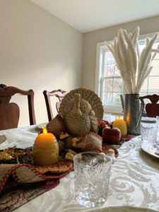 Designer, Claire Basile, submitted this photo from her Thanksgiving. This is her aunt's table in Bronxville, New York, where she decorated with some of my Martha Stewart flameless beehive candles from QVC.