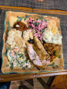 Here is one of the filled plates with all the traditional turkey fixings, and more.