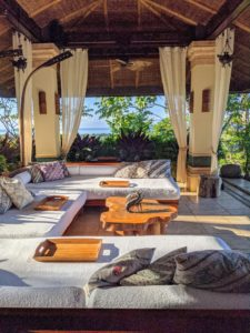 Los Elementos has four levels and is reminiscent of an open-air house in Bali. In fact, the house was inspired by five Balinese elements - water, earth, fire, air and ether. All the couches were so beautiful and generously sized.