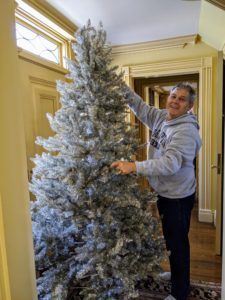 Here's Fernando putting up a silver tinsel tree, also from my Collection at QVC. This tree measures six-and-a-half feet tall and 48-inches wide.