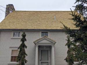 Here is the new roof. These Alaska yellow cedar shingles age from a uniform pale yellow color to an attractive soft silver-gray patina.