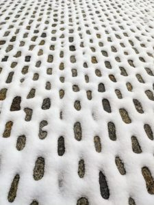 The snow covered the edges of the cobblestones in my stable courtyard leaving a very interesting geometric pattern.