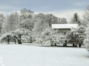 The snow covered everything. On the right, one can see the snow covered roof of the old corn crib.
