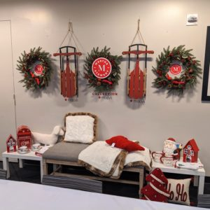 Hanging on the wall - my Farmhouse Holidays Sled Table Decoration, my Farmhouse Holidays Red Cardinal Artificial Wreath, my Sweater knit Fur Throw, my Santa Mailbox Cookie Jar, and more great holiday items on my Demi Bench - all exclusively at Macy's. https://mcys.co/35rtX2k