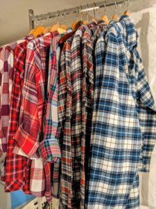 Festive flannel shirts were ironed and hung for every member of the wait staff.