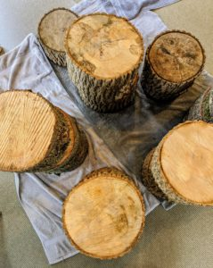 I love to incorporate natural elements whenever possible. These tree stumps make great Christmas tree stands.