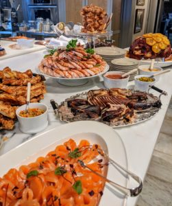 My Winter House is where Chef Pierre Schaedelin @pstailoredevents and I prepared and served all our glorious savory foods. We pushed my kitchen counters together on one side, so we could serve the food buffet-style – it's a wonderful solution for large gatherings.