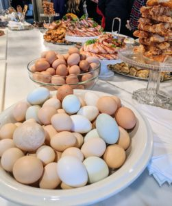All the eggs used for my eggnog came right from my hens here at the farm. A single eggnog recipe, by the way, calls for a dozen eggs, which can serve about 26-guests. My eggnog is always so popular - it is so rich it needs no accompaniment.
