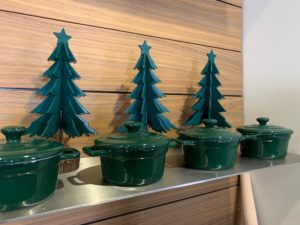 My Holiday Enamel Cast Iron pots are sold in various colors and designs - great gifts for the cooks on your list. Behind them, my fun Farmhouse Holiday Green Tabletop Trees also from Macy's.