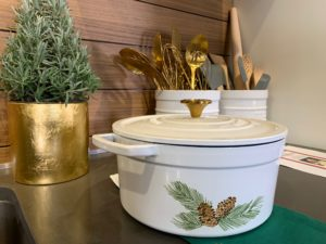 Here is the other holiday style - a 6-quart Pinecone Enamel Cast Iron pot with pinecones and greenery. My cookware is compatible with gas, electric, glass and induction cooktops.