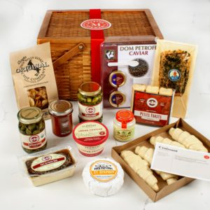 This year, I am also offering gift baskets from iGourmet. This Luxury Hamper gift set includes Petrossian's world-renowned caviar and delicately smoked salmon, ready-to-bake all-butter croissants, a selection of French cheeses, rich country pate, pungent grainy mustard, briny caper-berries, and more.