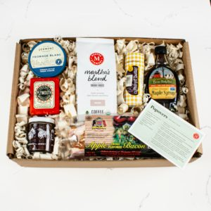 My New England Breakfast gift basket offers pure Vermont maple syrup, cultured butter, lightly smoked apple wood bacon, award-winning cheeses, and my Organic, Fair Trade medium roast coffee.
