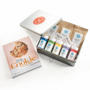 You can also give my book as part of my Martha Stewart Cookie Decorating Tin Gift Kit from Amazon. This gift includes all the ingredients you need in a classic keeper tin to decorate festive cookies for any occasion.