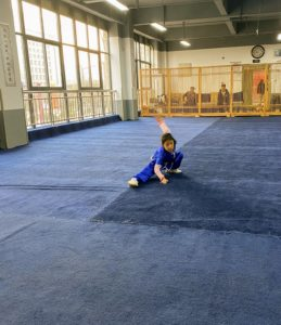 This is Master Ma Chao's young daughter. We were delighted to see her practice. It was a fun hour. Alexis took a Chinese boxing lesson while Truman enjoyed practicing his moves with Master Ma Chao.