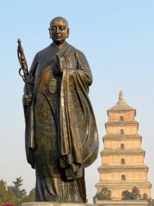 After our lesson, we went to the Giant Wild Goose Pagoda or Big Wild Goose Pagoda. Standing in the foreground is the statue of the Chinese Buddhist monk, scholar, traveler, and translator, Xuanzang.