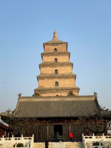 The original pagoda was built during the reign of Emperor Gaozong of Tang in 652, then standing at 177 feet tall. The rammed earth construction with a stone exterior facade collapsed five decades later. The ruling Empress Wu Zetian had the pagoda rebuilt and added five new stories by the year 704. A massive earthquake in 1556 heavily damaged the pagoda and reduced it by three stories, to its current height of seven stories.