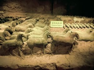 There were thousands of pottery figurines including these horses and piglets. Other animals included sheep, dogs, and chickens.