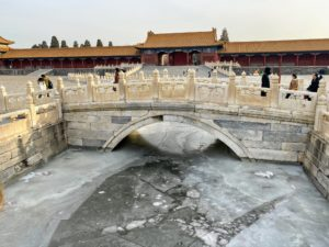 Then we toured the Forbidden City, which is 180 acres large surrounded by a 26-foot wall and a 20 foot deep, 171-foot wide moat. The Forbidden City consists of more than 90 palaces and courtyards, 980 buildings, and over 8728 rooms. All the bridgework here is made of carved marble. And look closely - it was almost completely empty. The best time to visit these sights is early in the morning. We were very lucky.