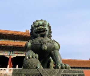 There were more Fu Dogs, or Imperial Guardian Lions, in the Forbidden Garden. These figures are believed to protect humans from evil spirits. Fu Dogs were traditionally placed in front of imperial palaces, temples, government offices, and wealthy family homes. This male Fu Dog is holding a globe under his right paw, which signifies control over his domain and protection of his home.