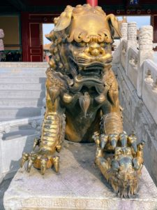 The statues of the Forbidden City are mostly animals made of bronze. They often have demonic faces and all represent guards intended to prevent bad people from entering.
