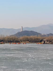 And this is Kunming Lake. Kunming Lake is the central lake on the grounds of the Summer Palace in Beijing. Together with Longevity Hill, Kunming Lake forms the key landscape features of the Summer Palace gardens. It covers approximately three-quarters of the Summer Palace grounds and is quite shallow, with an average depth of only five feet.