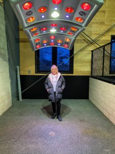 "I am standing under the ""Solarium"", a light therapy machine which helps improve circulation. The Lodge at Blue Sky is the only luxury guest ranch in North America that employs a full-time on-site vet to ensure that their special animals get the best care and attention."