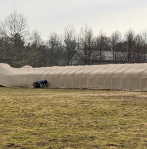 The other side of the burlap is also secured – these covers are done carefully, so it provides strong protection through the winter and until everything is removed again in spring.