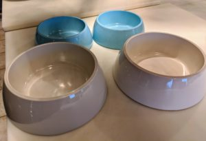 These are my Martha Stewart Food and Water Bowls. The bowls come with air-tight lids, so they can be transported easily if needed.