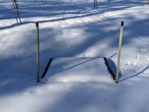 Whenever it snows, I am always grateful for the stakes we put up delineating the carriage roads. We paint the tips of those stakes that mark the catch basins, so if needed, the side openings can be cleared.