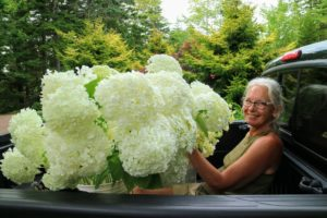 And here she is helping to gather flowers for an arrangement before one of my large entertaining events.