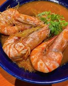 One of the dishes included these delicious shrimp served with glass noodles, or cellophane noodles, fensi - a type of transparent noodle made from starch and water.