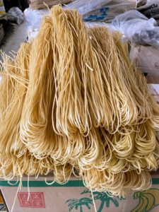 Most noodles in the markets are hand-pulled and sold dried. Asian noodles can be made with rice, yam, and mung bean in addition to wheat flour. Noodle lengths also have a significance—they are often symbols of longevity and served at celebratory meals.