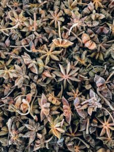 This is star anise - the pungent, licorice-like aroma makes star anise an integral ingredient in Chinese five spice, where it's combined with fennel, cinnamon, Szechuan peppercorns and cloves.