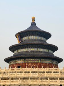 On the third day of our trip, we visited the magnificent Temple of Heaven, an imperial complex of religious buildings where Emperors of the Ming and Qing dynasties gathered for annual ceremonies of prayer for good harvests. This is the Hall of Prayer for Good Harvests, the main building of the temple complex.