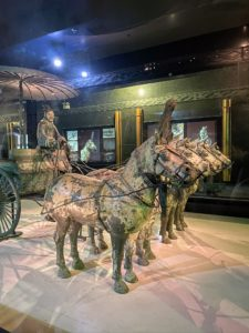 One of the first things we saw was this chariot display. In 1980, archaeologists discovered a large pit holding two sets of painted bronze chariots and their horses. These figures were found in thousands of pieces. It took eight years of painstaking restoration to complete them.
