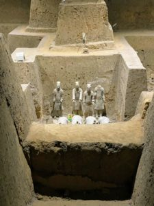 These figures are in Pit 3. This is the smallest pit and was discovered in 1976 with only 68 pottery figures and one chariot. Here are the charioteers behind the horses.