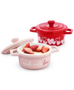 These whimsical Made with Love Valentine's Day Cocottes are fun to use on Valentine's for special desserts. Sold in a set of two, each one holds up to 6.15 ounces.