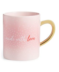 Here's my Valentine's Day Made With Love Mug from Macy's. This oversized ceramic microwave-safe mug features a romantic sentiment and a gleaming gold-tone handle - perfect for that cup of hot cocoa or my Martha Stewart coffee.