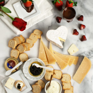 "This decadent gift box from iGourmet will make any Valentine happy. It includes a one-year subscription to our magazine ""Living"" and a variety of artisanal cheeses - enough for two."