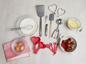 My collection includes lots of heart-themed products this season, such as a heart whisk, heart measuring spoons, heart-shaped pancake and egg rings, multi-functional spatulas, and more.
