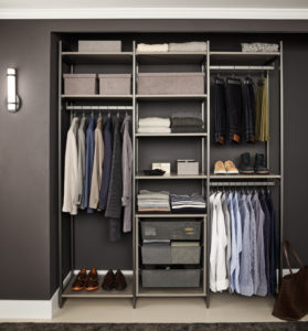 This Everyday System can be used in a reach-in closet configuration or act as a stand-alone storage unit. The refined design is configured with more than 87-inches of combined hanging and overhead storage space.
