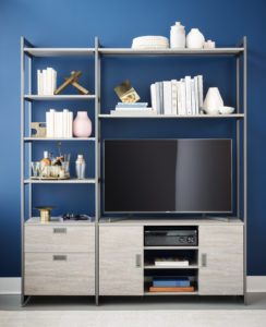 And it fits in both large and small spaces. The open shelving comfortably holds TV sets from 43-inches to 48-inches with plenty of space to display books and collectibles.