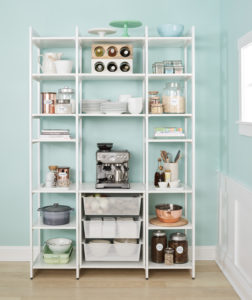 With a focus on open shelving, this clean and easily-accessible design caters to visibility and function for kitchen pantry storage. Each 14-inch or 20-inch shelf can fit various appliances including food processors and microwaves.