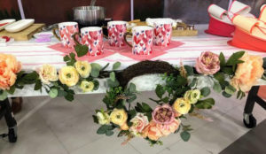 We decorated the table with my Macy's Martha Stewart Collection English Garden Asymmetrical Ranunculus Artificial Wreath. My artificial flowers feature lifelike greenery and softly shaded faux flowers.