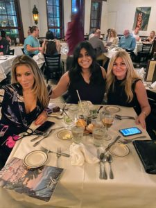 "And, at the ""children's table"" - my makeup artist, Daisy Schwartzberg Toye, Christine Colaco from Bank of America, and Daisy's friend, Alissa."