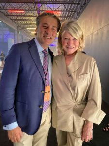 Here I am with Marco Maccioni, son of restaurateur and author, Sirio Maccioni. Everyone loved my Hermes tan poplin suit. I love it too - it's so comfortable.