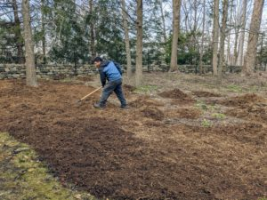 Phurba spreads a two to three-inch layer of mulch over the area. In time, the mulch will also help to suppress weed germination, retain moisture, and insulate the soil.