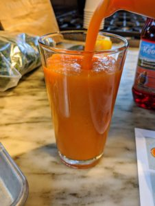 This smoothie has such a rich orange color.